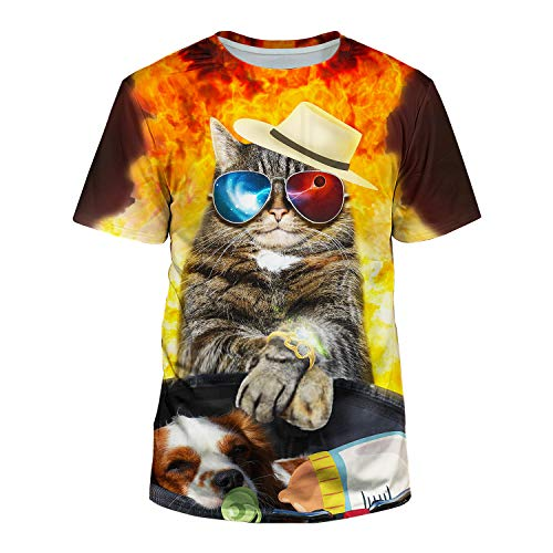 (Kayolece Unisex 3D Flaming Cat Dog Shirts Printed Short Sleeve Graphic Tees M)