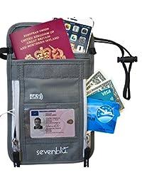 SevenBlu - RFID Premium Passport Holder and Travel Neck Wallet - Hidden and Secure