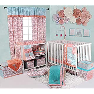 Bacati - Sophia Paisley Girls Crib Baby Bedding Set (Coral/Aqua, 6 pc Crib Bedding Set)