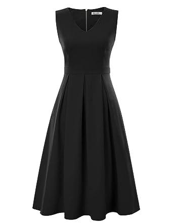 aabcbee9587e Women's 1950s Vintage V Neck Sleeveless Retro Cocktail Swing Dress Black S