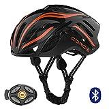 Coros Linx Smart Cycling Helmet, Black/Orange Gloss, Medium