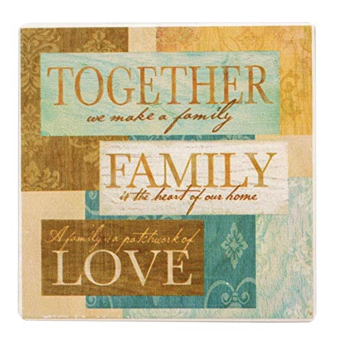 """Square Naturally Absorbent """"Together We Make A Family...""""-Themed Stone Coasters, Set of 4, Size 3.75"""" X 3.75"""""""