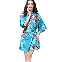 Womens Short Foloral Kimono Sexy Silky Satin Bath Robe
