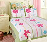 Spring Fling Flower Embroidery Quilt Set (Twin Size)
