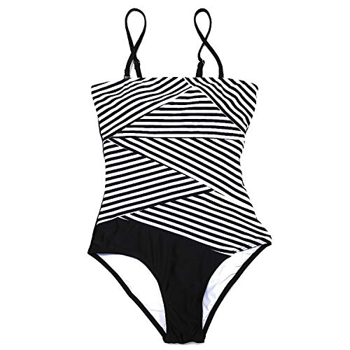 Ratoye swimwear Europe and USA Black and White Striped Ladies one-Piece Slim Backless Beach Swimsuit Swimsuit ()