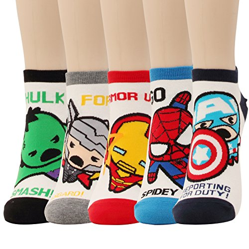 5 Pairs Marvel Original Avengers Low cut Crew Ankle No Show Socks (5pairs-Low Cut Socks)