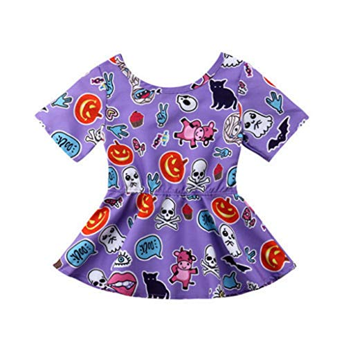 B. Bone Baby Toddler Kids Girls Clothes Short Sleeve Round Neck Pumpkin Print Backless Party Halloween Cotton Mini Dresses(Multi,6M)]()