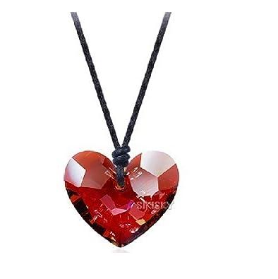 Swarovski , fantaisie pendentif cordon en forme de coeur rouge