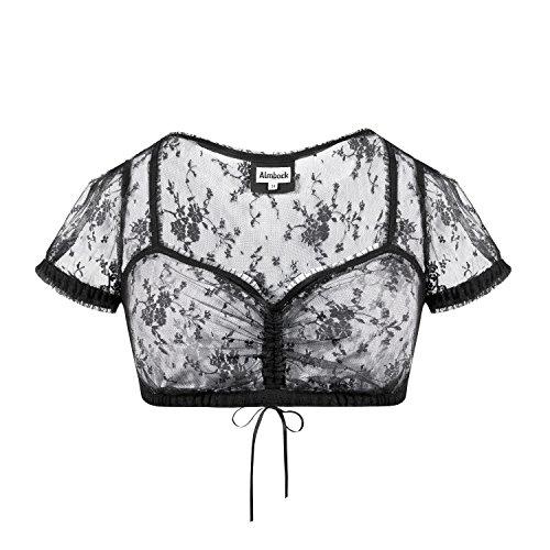 Almbock Dirndl-Bluse Daria schwarz in Gr. 34 36 38 40 42 44 - schwarze Dirndl-Bluse, leicht transparent, perfekt kombinierbar
