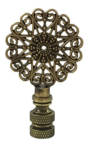 (Royal Designs Scalloped Filigree Lamp Finial for Lamp Shade- Antique Brass)