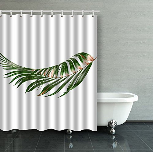 Emvency Shower Curtain Waterproof Green Leaves Of Palm Tree On White Background Cotton Sofa With Plastic Hooks Polyester Fabric Adjustable Curtain For Bathroom (Curves Willow Six)