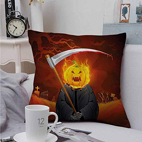 AndyTours Throw Pillowcase Halloween Grim Reaper Head Spooky Soft, Breathable and Hypoallergenic 20 X 20 -