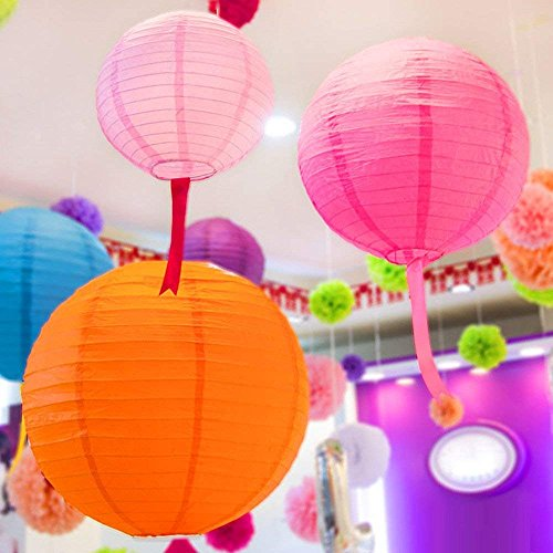 """LURICO 16 Pcs Colorful Paper Lanterns (Multicolor,Size of 4"""", 6"""", 8"""", 10"""") - Chinese/Japanese Paper Hanging Decorations Ball Lanterns Lamps for Home Decor, Parties, and Weddings by LURICO (Image #9)"""