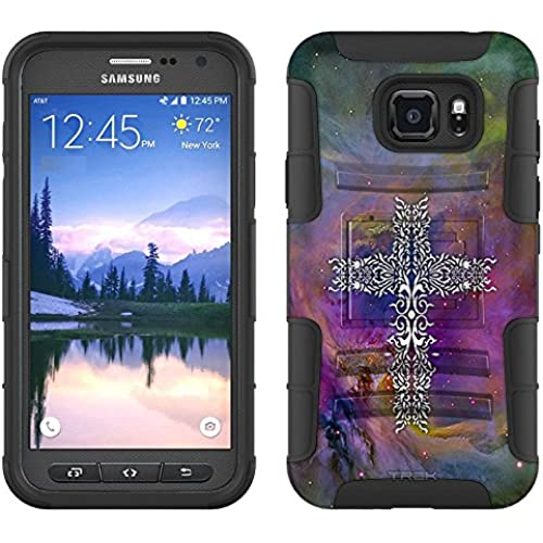Samsung Galaxy S7 Active Armor Hybrid Case Tribal Cross on Nebula Multicolor 2 Piece Case with Holster for Samsung Galaxy S7 Active Sales