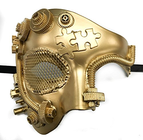 2017 Newest Style Phantom Theater Steampunk Dopest Masquerade Mask Men's Half Mask Metallic Finish Paint (GOLD) ()