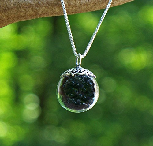 Recycled Antique Black Depression Glass Orb Necklace ()