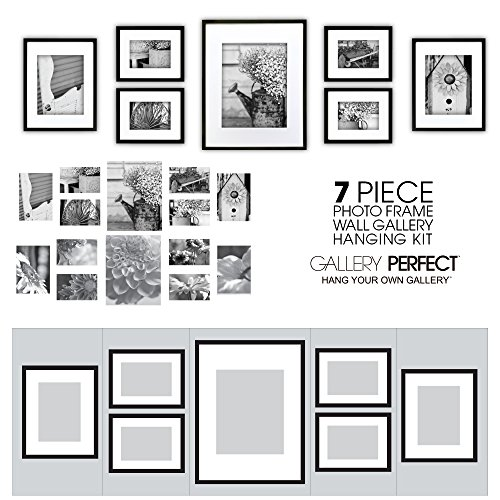 Gallery perfect 7 piece black photo frame wall gallery kit for Perfect kitchen sharjah