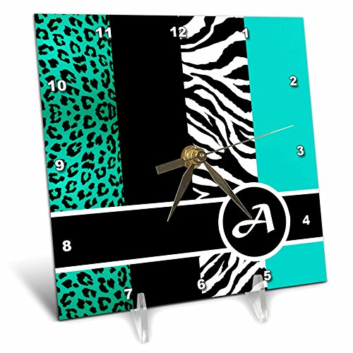 3dRose dc_35558_1 Elegant Animal Print Monogram-Teal A-Desk Clock, 6 by 6-Inch by 3dRose