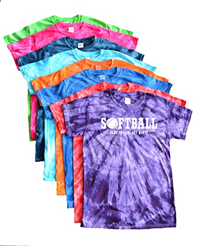 Tough Logo Tee (Softball Tie Dye T-Shirt -Play Tough, Get Dirty White Logo (Turquoise, YL))