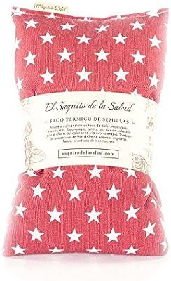 Saco Térmico de Semillas aroma Lavanda, Azahar o Romero tejido Rojo con Estrellas (Romero, 50 cm)