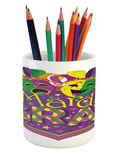 Ambesonne Mardi Gras Pencil Pen Holder, Comedy and Tragedy Masks with Festive Mardi Gras Carnival Blazon Design, Printed Ceramic Pencil Pen Holder for Desk Office Accessory, Purple Green Yellow
