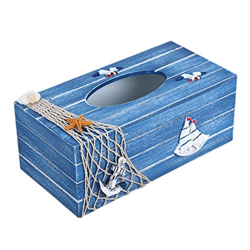 SUNONE11 Vintage Blue Wooden Tissue Box Mediterranean Style Ocean Theme Fishing nets Shell Starfish Boat Seagull Rectangular Paper Towel Box Napkin Organizer Holder (Box Fishing Tissue)