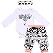 3Pcs Newborn Baby Boy Girl Bohemia Long Sleeve Bodysuit Rompers + Pants + Headband Outfits Clothes Set