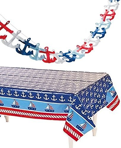 happy deals Nautical Tablecloth and Tissue Anchor Garland Set - Nautical Party Decorations