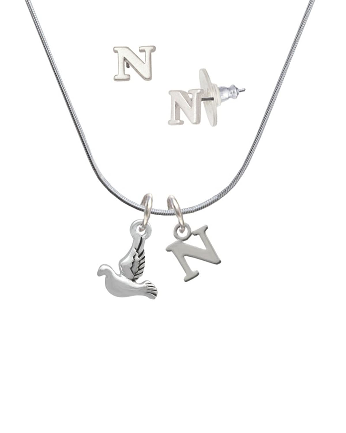 2-D Small Dove - N Initial Charm Necklace and Stud Earrings Jewelry Set
