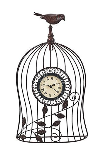 Metal Birdcage Clock With Top Perched Bird - By Ganz