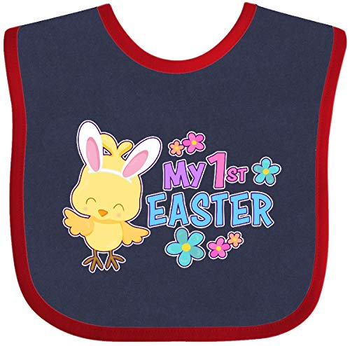 (Inktastic - My 1st Easter with Cute Chick and Baby Bib Navy and Red 2e770)