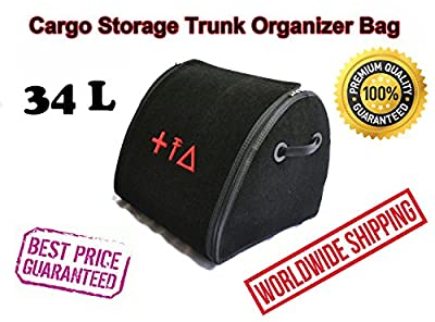Car Cargo Storage Trunk Organizer 34L Auto Boot Folded Bag Premium Quality Durable First Aid Emergency Kit Box Cargo Tray Universal Vehicle Fit VW Golf Polo Passat CC Touran Tiguan Touareg Caddy EOS
