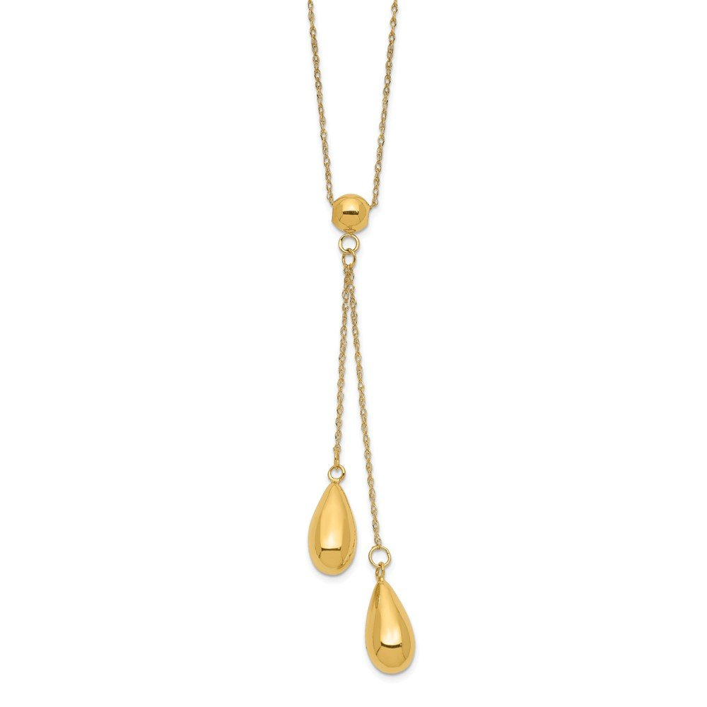 18 Inch Length Necklace 14k Yellow Gold Polished Dangle Bead