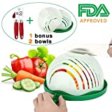 Salad Cutter Bowl,Dekawei 60 Second Salad Maker Family Size Fast Vegetable Cutter Bowl,Salad Slicer Salad Chopper Strainer Cutting Board 4 in 1 Durable(2 bowls) With A bonus Can Opener