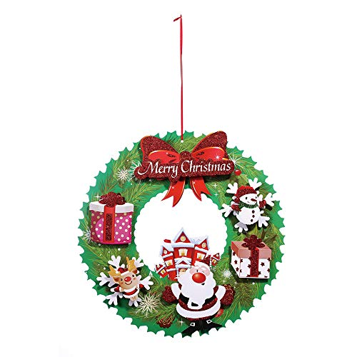 (Chezaa 15.7 Inch Christmas Paper Wreath Gift with Santa Elk Snowman Pattern Garland, Artificial Pendant Xmas Ornament for Front Door Windows Weddings Party Thanksgiving Day Christmas (Multicolor))