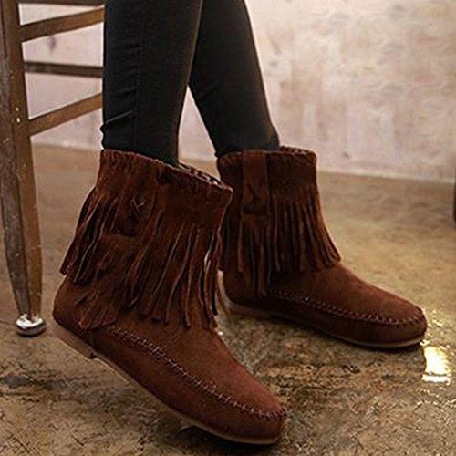 borla Frestepvie para invierno cálido zapatos plana mujer marrones botas aaOqPxwZnf
