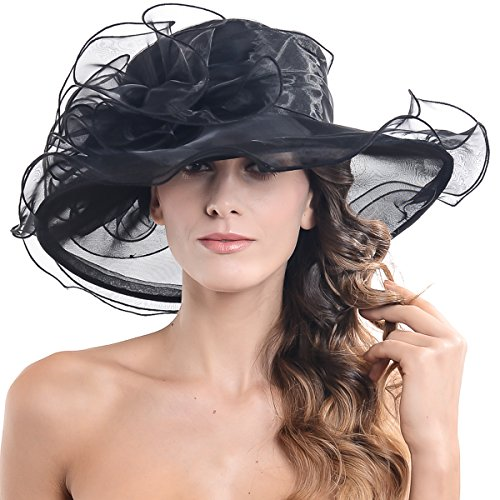 Women Church Kentucky Derby Hat Wedding Bridal Shower Organza Wide Brim Hat (Black) (Flower That Looks Like A Black Eyed Susan)