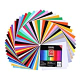 Adhesive Vinyl Sheets - 40 Assorted Colors(Glossy,Matte,Brushed and Metallic) Self Vinyl Craft Paper with 2 Clear Transfer Tap for Cricut and Other Cutters (50 Pack)