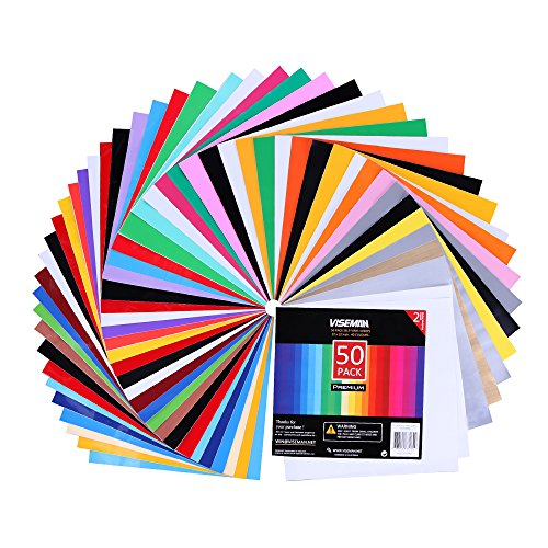 VISEMAN Adhesive Vinyl Sheets - 40 Assorted Colors(Glossy,Matte,Brushed and Metallic) Self Vinyl Craft Paper with 2 Clear Transfer Tap for Cricut and Other Cutters (50 Pack) ()