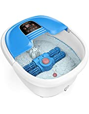 Foot Spa and Massager, Foot Bath with Auto Pedicure Massage Roller, AREALER Foot Soaker with Infrared Heater & Bubble Jet & Magnetic Field Therapy for Foot Care