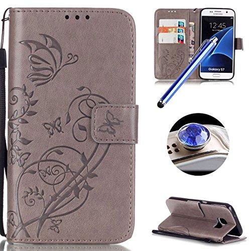 Telefono S7 Retro Gris Para De Galaxy Pu Tribu el Patrón Caso S7 flip Cuero Folio Samsung Mariposa Bookstyle La Moda samsung C Leather Movil Protector Funda Y5WfT