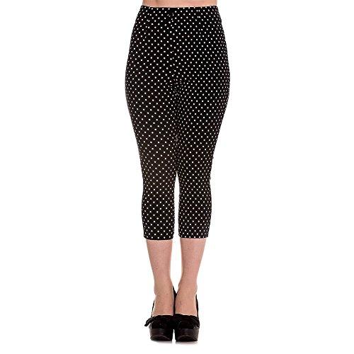 Hell Bunny Black Kay Polka Dot 50s Vintage Style Capri Trousers 3/4 Pedal Pushers - (M) ()