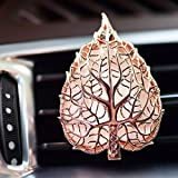 Aromatherapy Car Air Freshener, Leaf Locket Essential Oil Car Diffuser with Vent Clip and 7 Colored Refill Pads (Rose Gold)