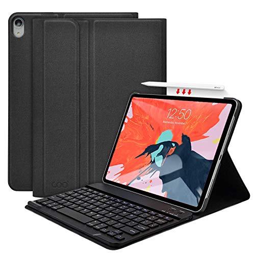 iPad Pro 11 キーボード ケース(2018秋新型モデル) ワイヤレス Bluetooth キーボード Apple Pencil ワイヤレス充電対応 収納可能 脱着式 手帳型 オートスリープ機能 多角度調整 軽量 薄型 [2018最新版専用キーボード]