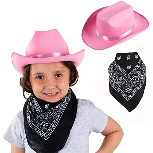 Funny Party Hats Cowgirl Hat for Girls - 2 Pc Set - Pink Cowboy Hat with Bandanna - Western Costume Accessories -