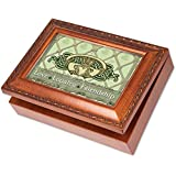 Cottage Garden Irish Love Loyalty Claddagh Woodgrain Music Box / Jewelry Box Plays That's an Irish Lullaby