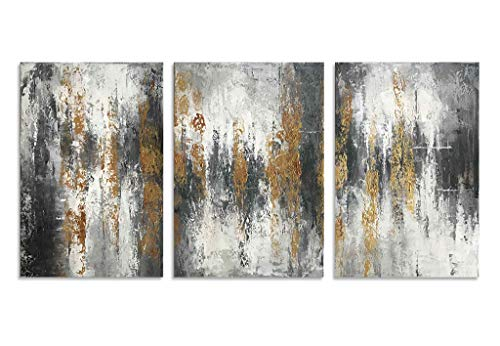 Handmade Abstract Oil Painting Canvas - HLJ ART Handmade Golden and Silver Abstract Canvas Oil Painting for Home Wall Decor (Golden-A, 20x30inx3pcs)