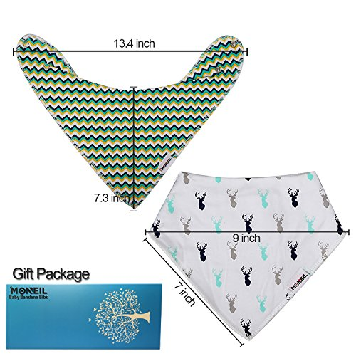 Baby Bandana Drool Bibs,6-pack Organic Cotton Soft Absorbent for boys girls by MONEIL (Image #1)