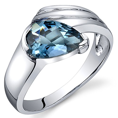 (London Blue Topaz Ring Sterling Silver Rhodium Nickel Finish Pear Shape 1.50 Carats Size 7)