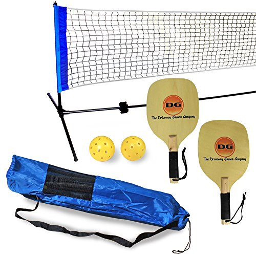 Driveway Games Portable Outdoor Pickleball Set. 2 Wood Racket Paddles, 2 Pickelballs, Bag and Net System Equipment by Driveway Games